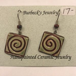 Handmade hand painted ceramic earrings